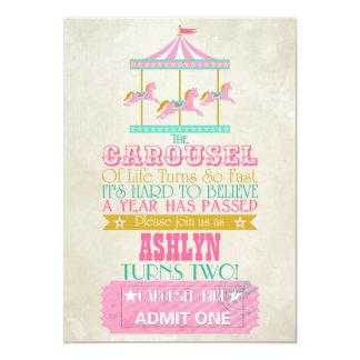 Carousel Birthday 13 Cm X 18 Cm Invitation Card