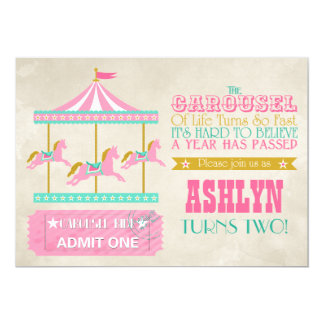 Carousel Birthday Party 13 Cm X 18 Cm Invitation Card