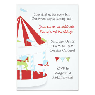 Carousel Birthday Party 13 Cm X 18 Cm Invitation Card