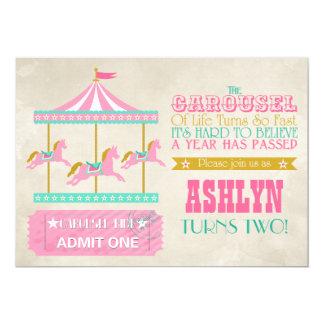 "Carousel Birthday Party 5"" X 7"" Invitation Card"