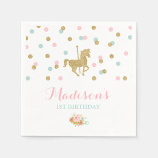 Carousel Birthday Party Napkin Pink Gold Carousel Disposable Napkin