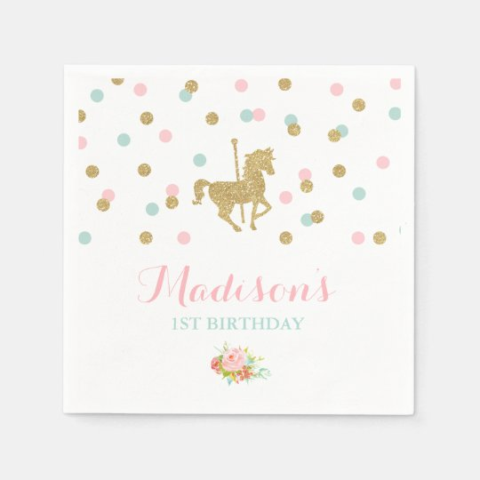 Carousel Birthday Party Napkin Pink Gold Carousel Paper