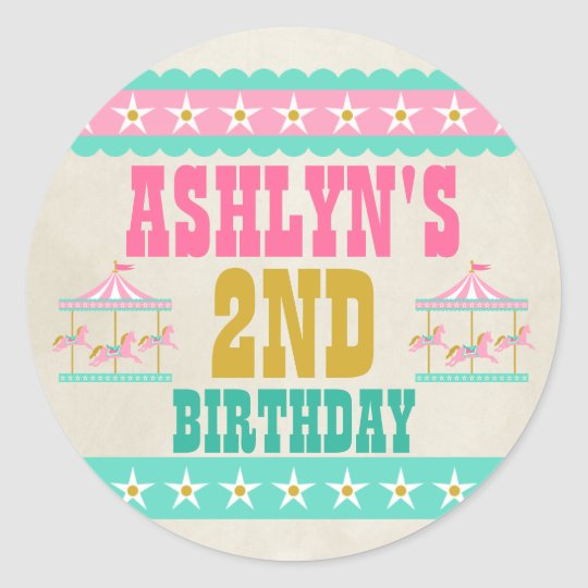 Carousel Birthday Party Personalised Classic Round Sticker