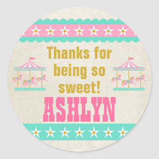 Carousel Birthday Party Personalized Classic Round Sticker
