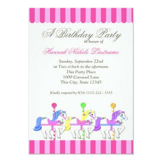 Carousel Birthday Pink 13 Cm X 18 Cm Invitation Card