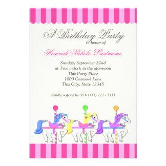 Carousel Birthday Pink Personalized Invitation