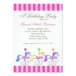 Carousel Birthday Pink Personalized Announcement