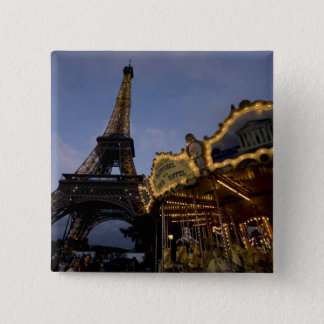 Carousel by the Eiffel Tower in the evening, 15 Cm Square Badge