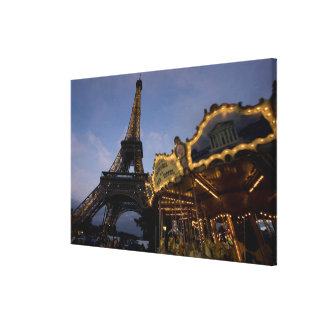 Carousel by the Eiffel Tower in the evening, Canvas Print