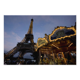 Carousel by the Eiffel Tower in the evening, Photo