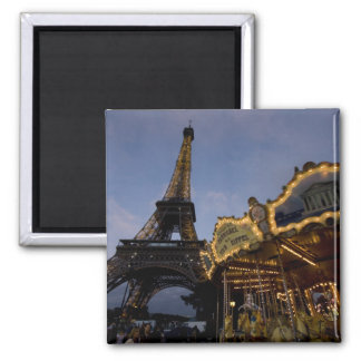 Carousel by the Eiffel Tower in the evening, Square Magnet