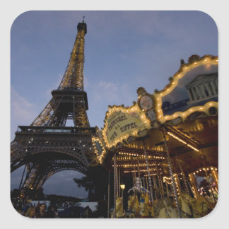 Carousel by the Eiffel Tower in the evening, Square Stickers