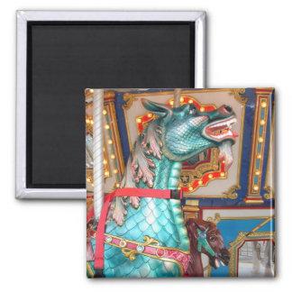 Carousel Dragon Square Magnet