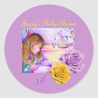Carousel Dreams and Roses Round Stickers