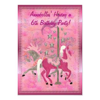"Carousel Dreams Custom Girls Birthday Announcement 5"" X 7"" Invitation Card"
