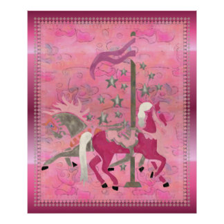 Carousel Dreams Nursery Childs Artwork Poster