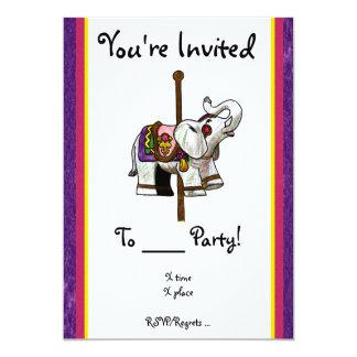 Carousel Elephant 13 Cm X 18 Cm Invitation Card