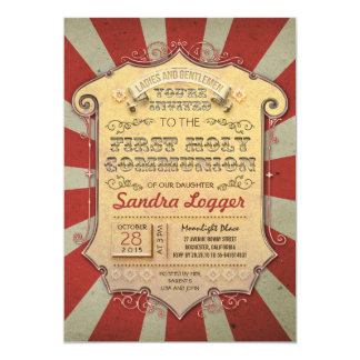 Carousel First Holly Communion 13 Cm X 18 Cm Invitation Card