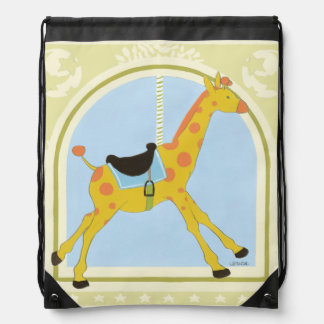 Carousel Giraffe by June Erica Vess Drawstring Bag