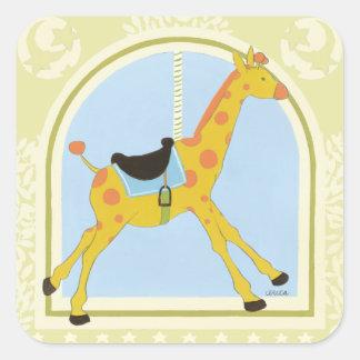 Carousel Giraffe by June Erica Vess Square Sticker