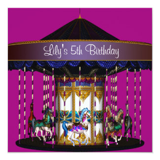 "Carousel Girls 5th Birthday Party 5.25"" Square Invitation Card"
