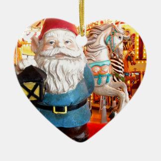 Carousel Gnome Ceramic Heart Decoration