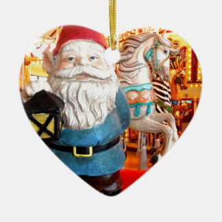 Carousel Gnome Double-Sided Heart Ceramic Christmas Ornament