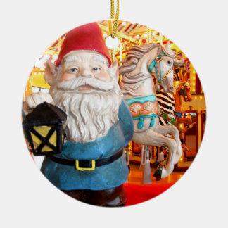 Carousel Gnome Round Ceramic Decoration