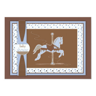 Carousel Horse Baby Boy Shower Inviation 13 Cm X 18 Cm Invitation Card