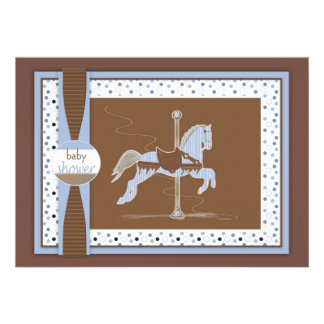 Carousel Horse Baby Boy Shower Inviation Personalized Invites