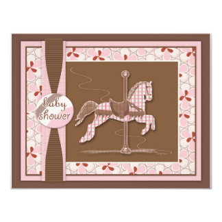 Carousel Horse Baby Girl Shower Invitation