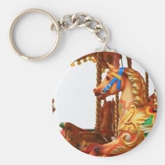 Carousel Horse Basic Round Button Key Ring