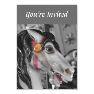 Carousel Horse Black And White Invitation