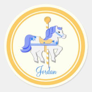 Carousel Horse Blue Gold Stars Classic Round Sticker