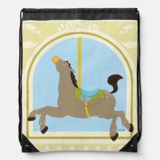 Carousel Horse by June Erica Vess Drawstring Bag