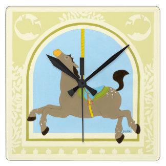 Carousel Horse by June Erica Vess Wall Clocks