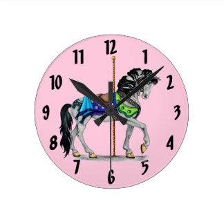 Carousel Horse Clock ~ Pink