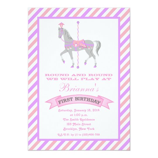 Carousel Horse First Birthday Invitation