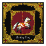 Carousel Horse Gold Red Black Regal Birthday Party Personalized Announcements