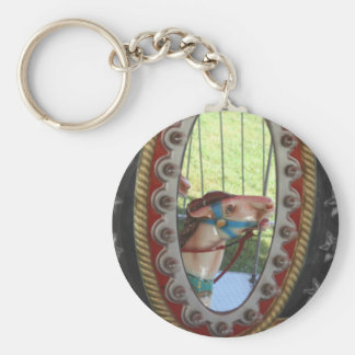 Carousel Horse In Mirror Black White Basic Round Button Key Ring