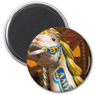 Carousel horse on merry goround 6 cm round magnet