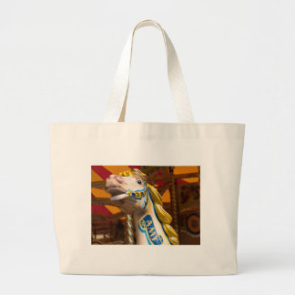 Carousel horse on merry goround large tote bag