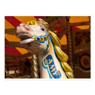 Carousel horse on merry goround postcard