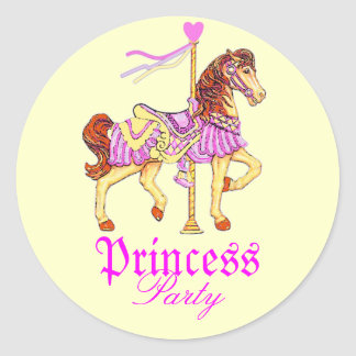 Carousel Horse Princess Party Round Sticker