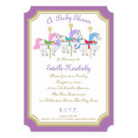 Carousel Horse Purple Baby Shower 13 Cm X 18 Cm Invitation Card