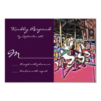 Carousel Horse Purple Carnival Wedding RSVP Cards 9 Cm X 13 Cm Invitation Card