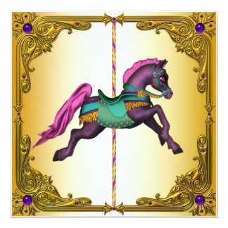 Carousel Horse Purple Pony Birthday Party 13 Cm X 13 Cm Square Invitation Card