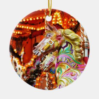 Carousel horse round ceramic decoration