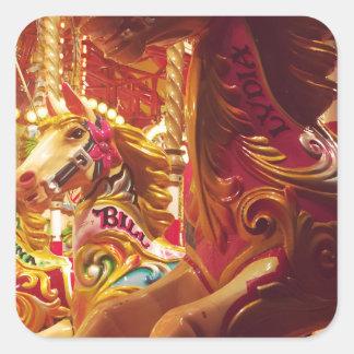 Carousel horse square sticker