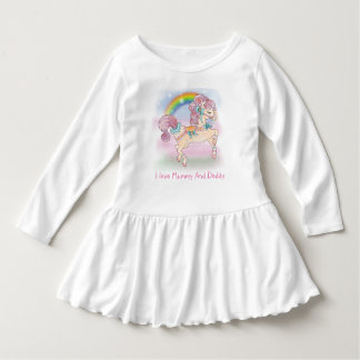 Carousel Horse Toddler Ruffle Dress, White Dress